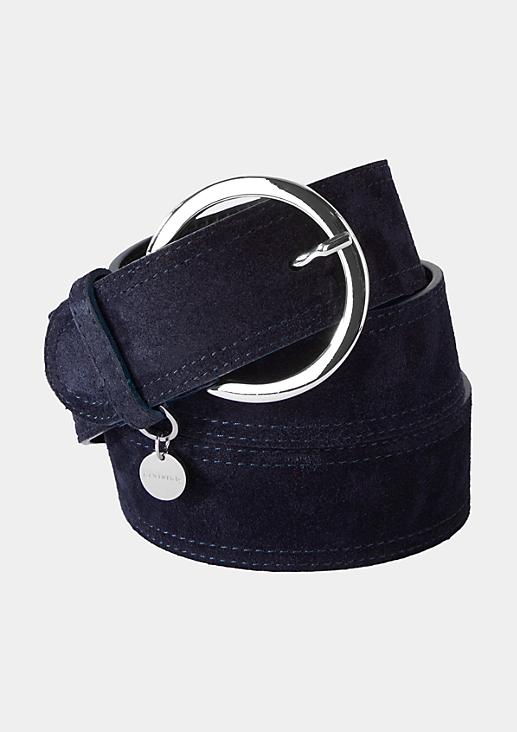 Breiter Ledergürtel mit runder Schnalle