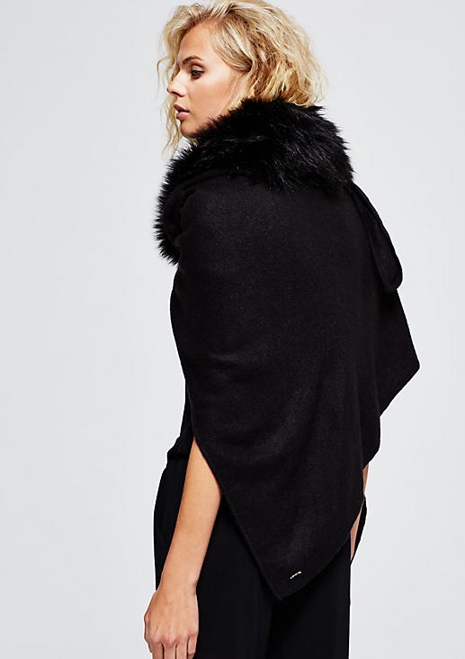 Doppelt gelegter Strickponcho mit kuscheligem Fake-Fur Besatz