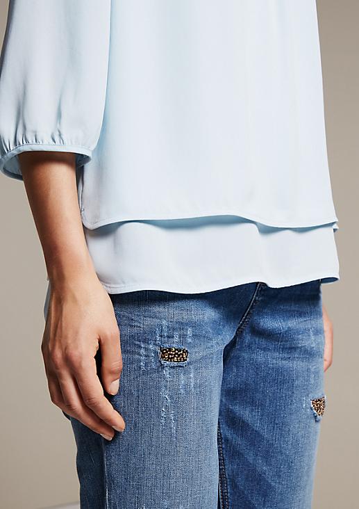 Edle 3/4-Arm Bluse im trendigen Lagenlook