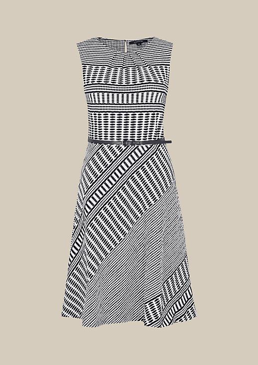 Edles Businesskleid mit geometrischem Strukturmuster in Two-Tone Optik