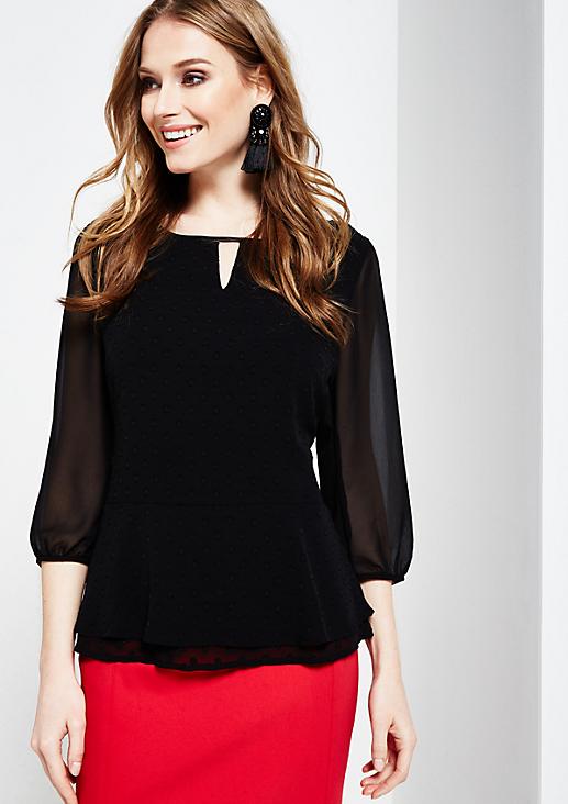 Elegante 3/4-Arm Bluse mit feinem Ton-in-Ton Muster