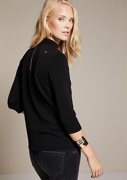 Elegantes 3/4-Arm Jerseyshirt mit aufwendig gearbeiteter Oberflächenstruktur