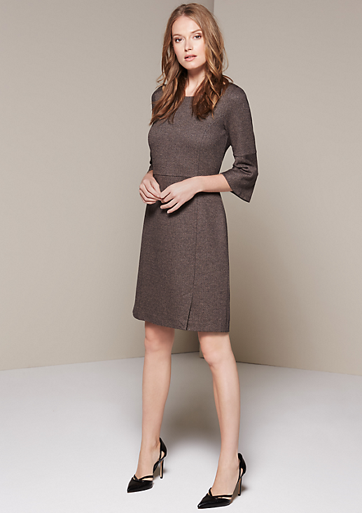 Elegantes 3/4-Arm Kleid im Tweed-Look