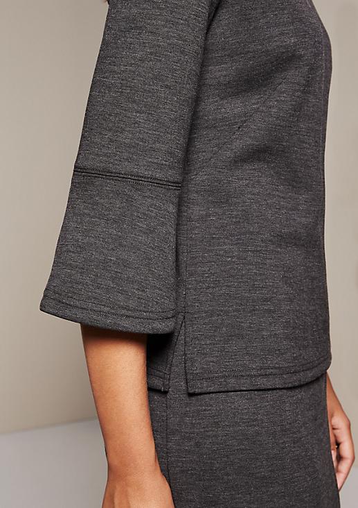 Elegantes 3/4-Arm Shirt in Melangeoptik