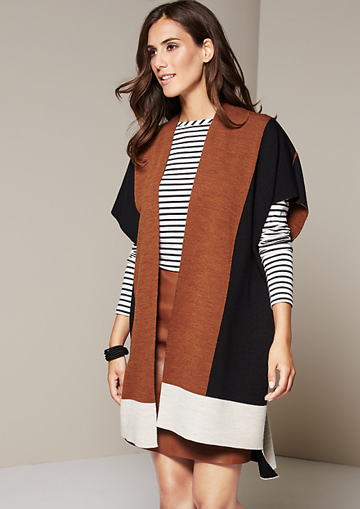Extravagante Kurzarm-Strickjacke in Colourblock-Optik