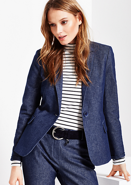 Extravaganter Blazer in dezenter Denimoptik