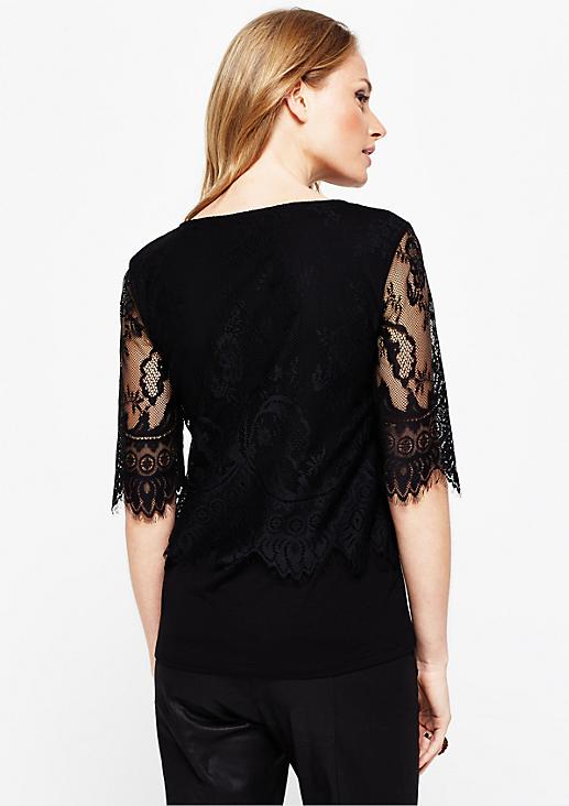 Extravagantes 1/2-Arm Shirt aus zarter Spitze