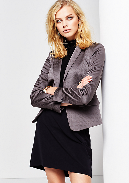 Feiner Businessblazer mit dekorativem Ton-in-Ton Jacquardmuster