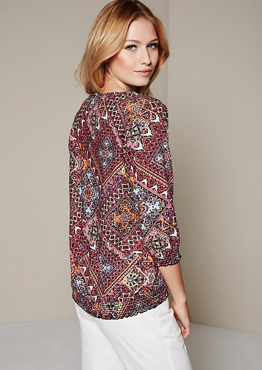 Feminine 3/4-Arm Bluse mit dekorativem Allovermuster