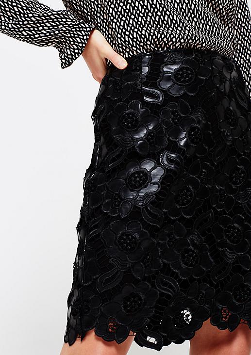 Glamouröser Fake-Leder Rock mit aufwendig gearbeitetem Muster