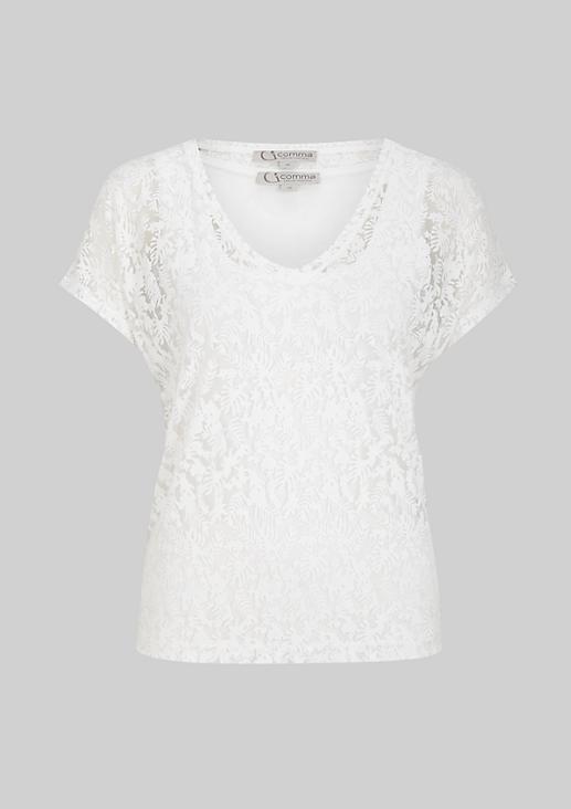 Hauchzartes Kurzarmshirt mit abstraktem Floralmuster