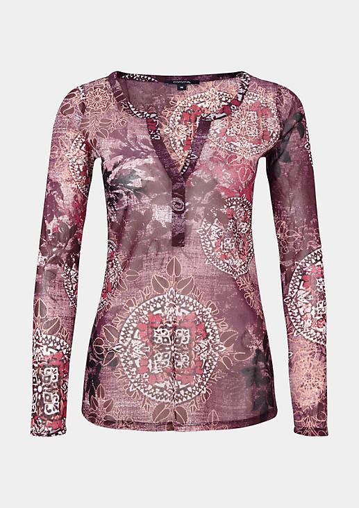 Hauchzartes Meshshirt mit aufwendig gestaltetem Alloverprint