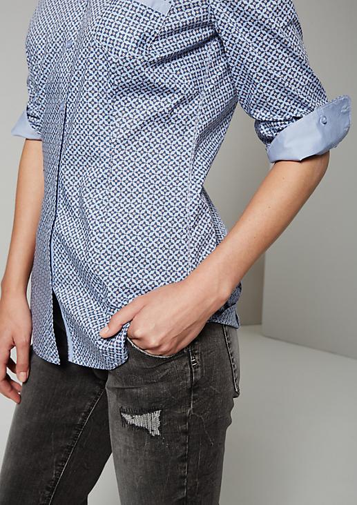 Klassische Hemdbluse mit raffiniertem Minimalmuster