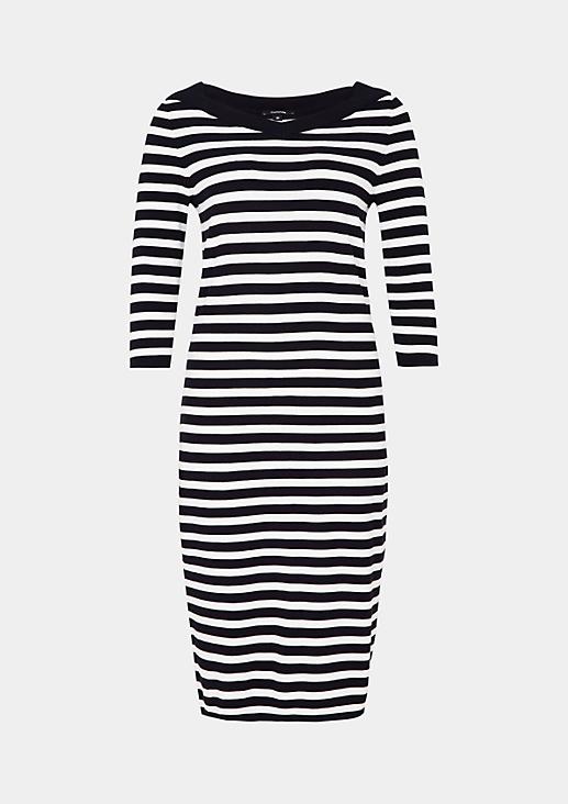 Lässiges 3/4-Arm Kleid mit dekorativem Streifenmuster