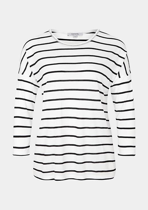 Legeres 3/4-Arm Jerseyshirt mit klassischem Streifenmuster