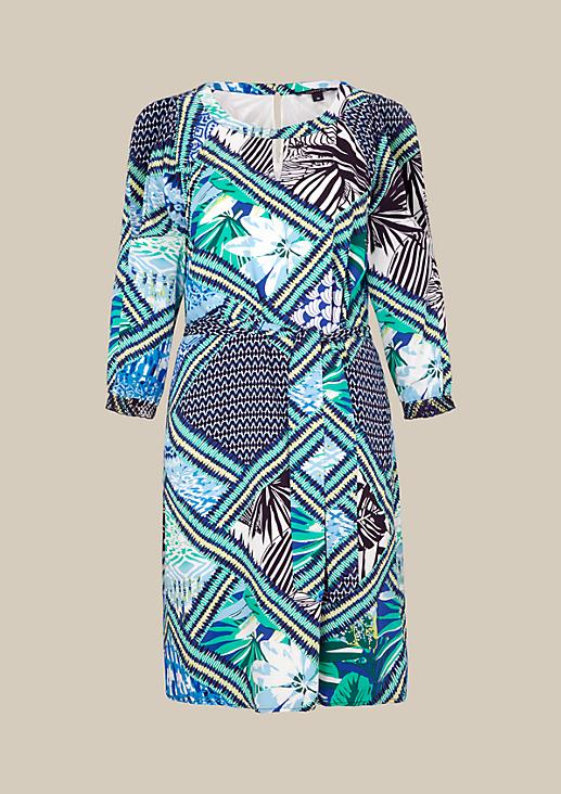 Leichtes 3/4-Arm Kleid mit farbenprächtigem Musterprint