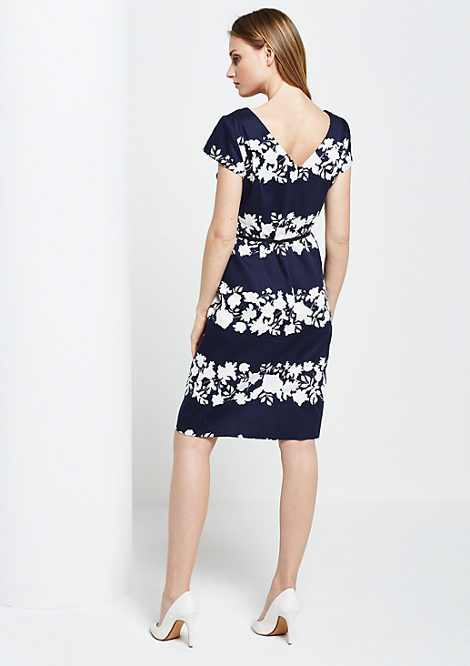 Schönes Abendkleid mit Floralprint in Two-Tone Optik