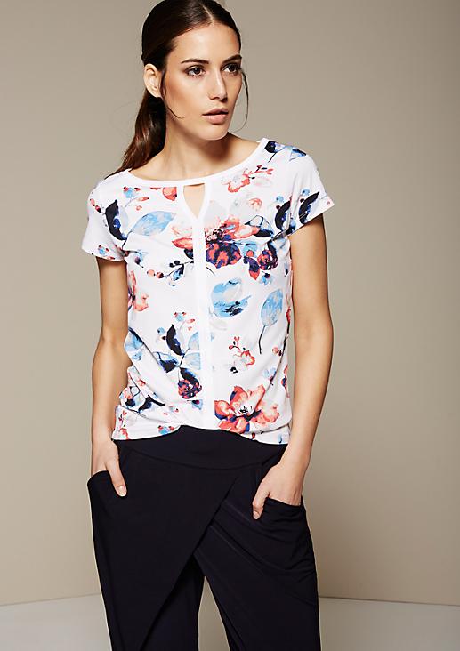 Sommerliches Kurzarmshirt mit dekorativem Alloverprint