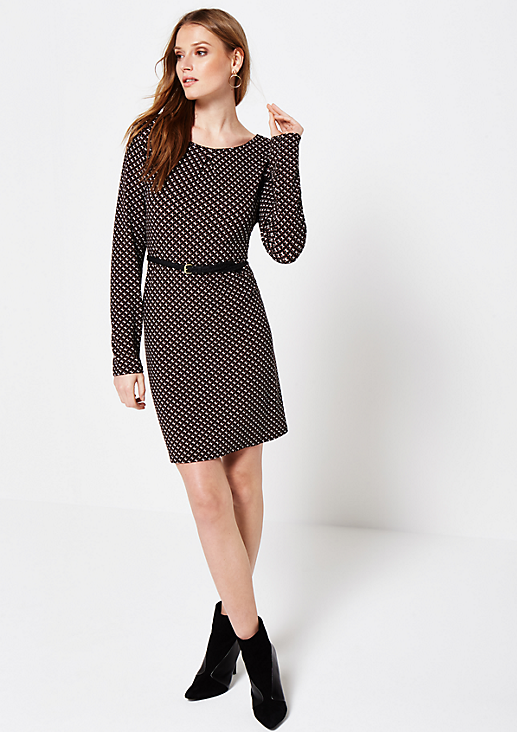 Sportliches Jerseykleid mit schönem Minimal-Alloverprint
