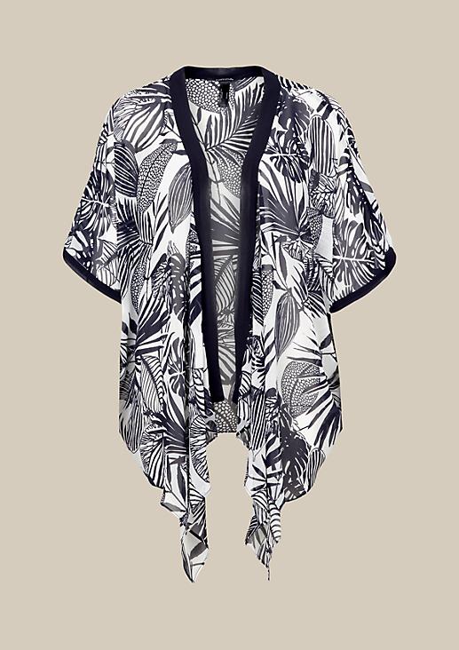 Zarter Chiffonponcho mit dekorativem Alloverprint
