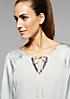 Elegante 3/4-Arm Bluse im Materialmix