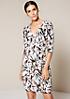 Elegantes 3/4-Arm Kreppkleid mit dekorativem Alloverprint