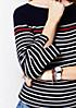 Legerer 3/4-Arm Strickpullover mit sportlichem Streifenmuster