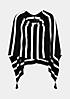 Weicher Strickponcho in Streifenlook