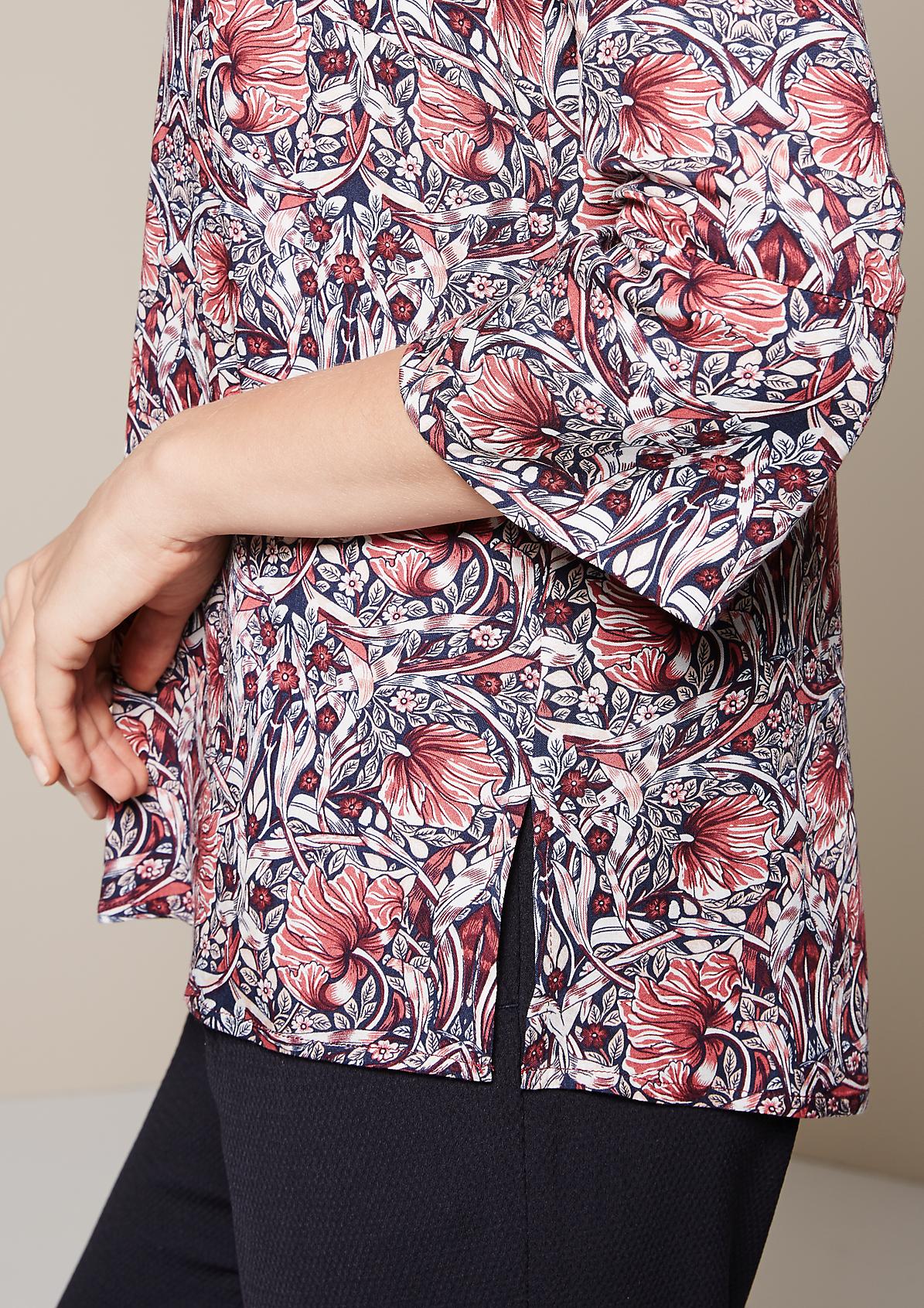 Edle 3/4-Arm Bluse mit dekorativem Allovermuster