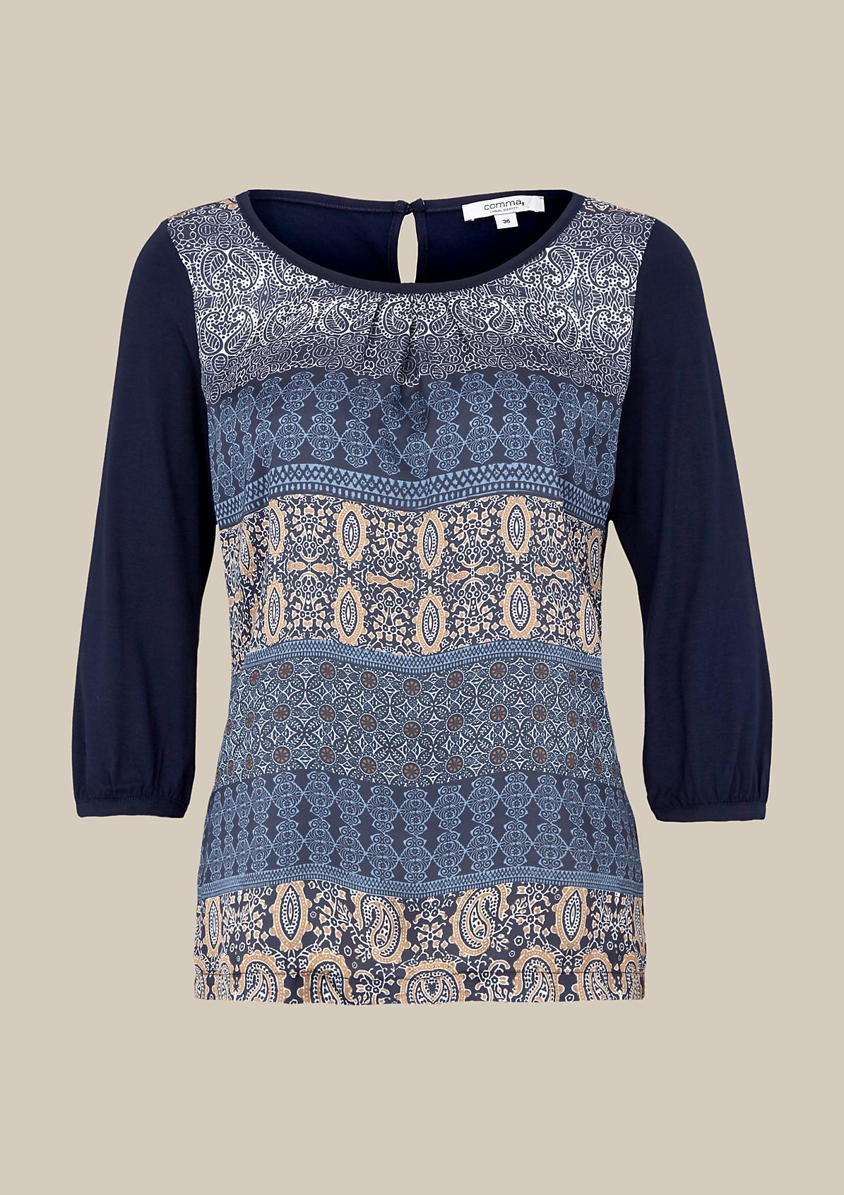Elegantes 3/4-Arm Shirt im Materialmix