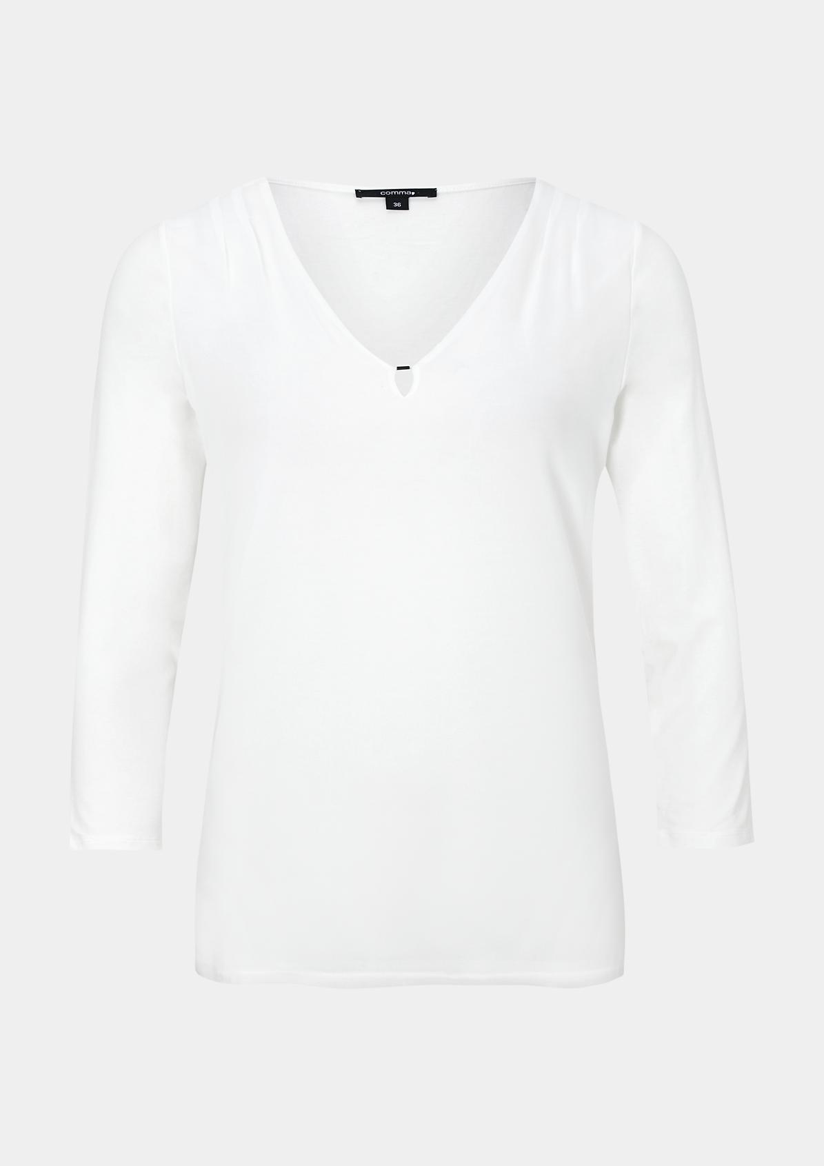 Feines 3/4-Arm Shirt im raffinierten Materialmix