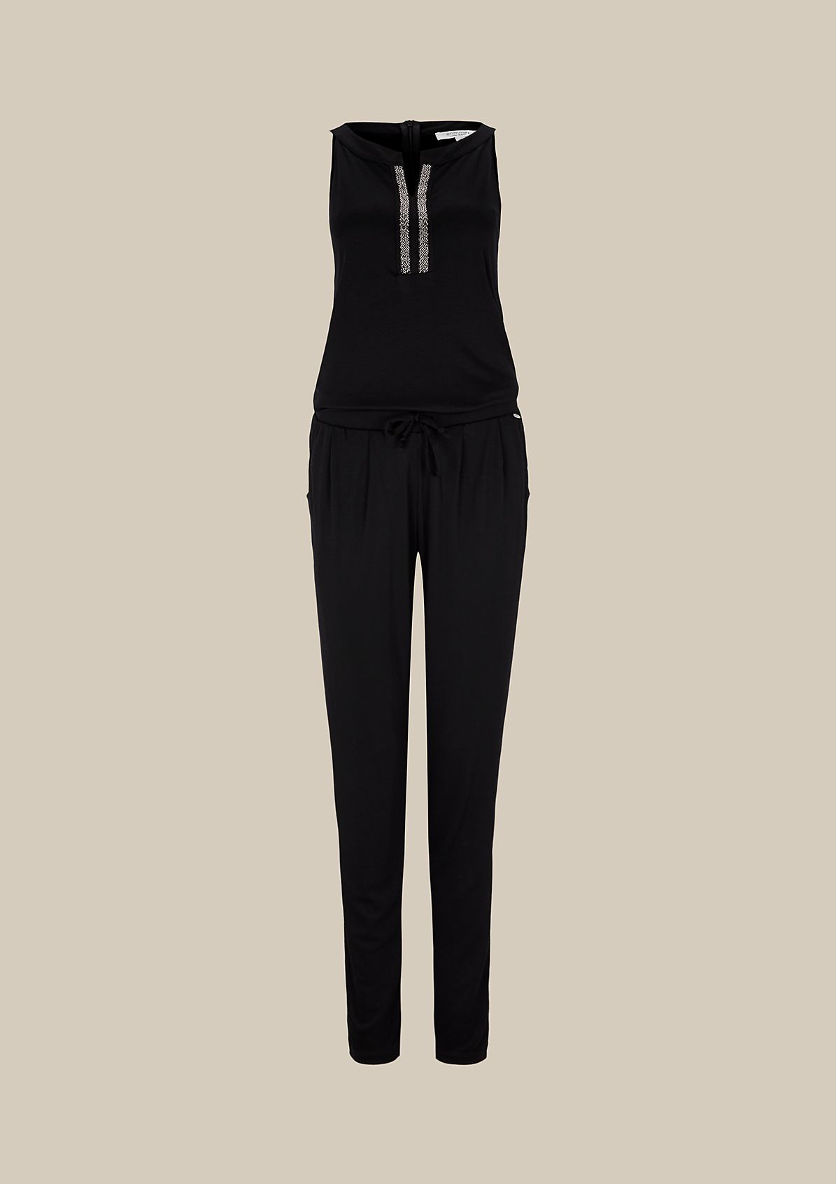 Glamouröser Jumpsuit mit glitzerndem Schmuckbesatz