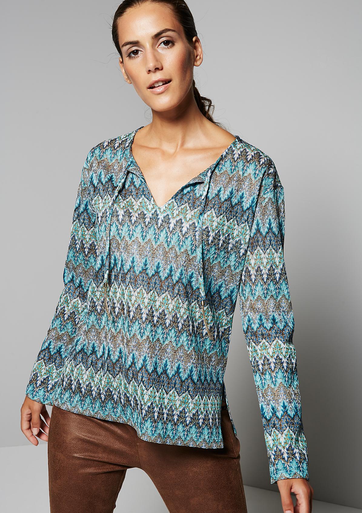 Glamouröses Langarmshirt mit farbenprächtigem Ethnomuster