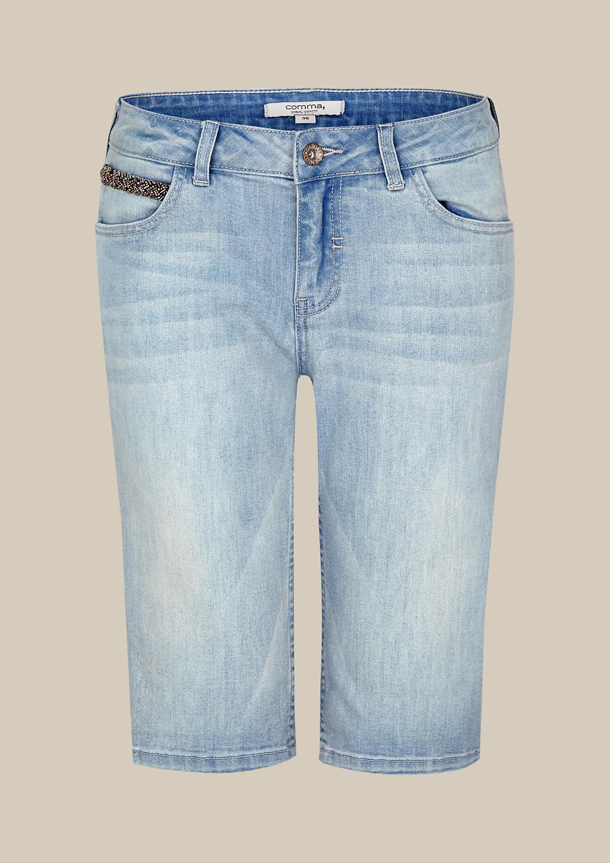 Lässige Jeans-Bermudas in Used-Waschung