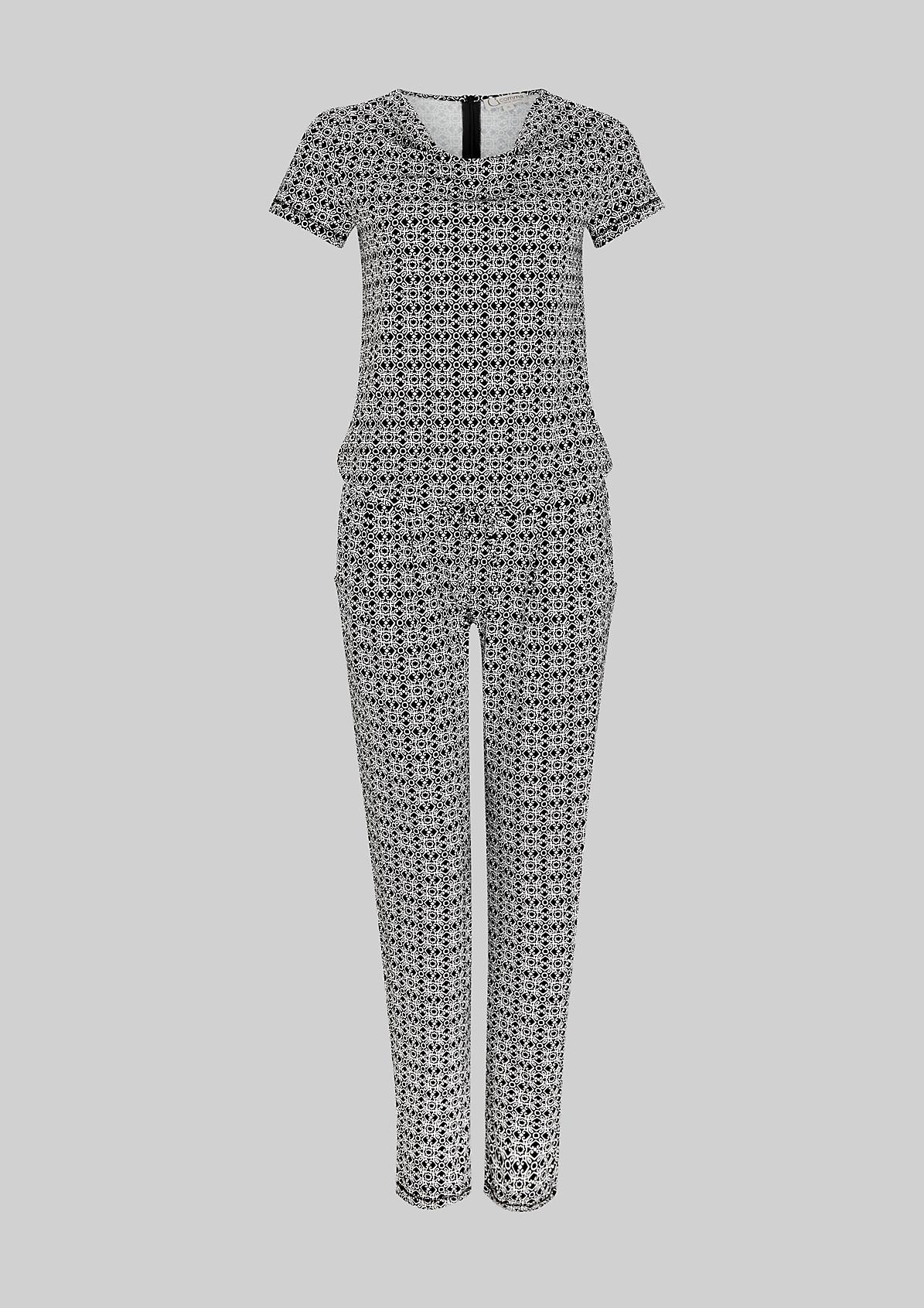 Lässiger Kurzarm-Jumpsuit mit raffiniertem Ornamentik-Allovermuster