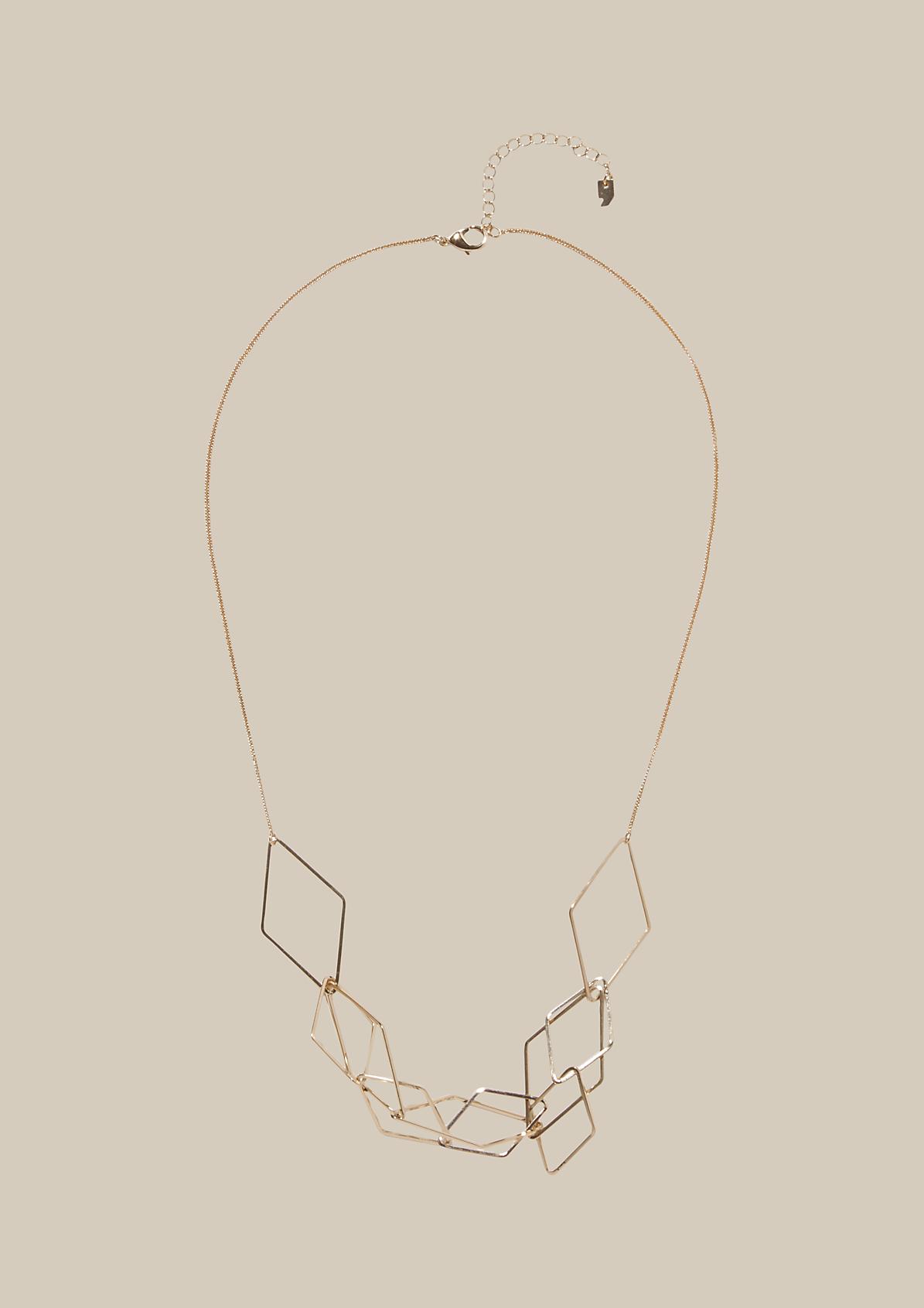 Lange Halskette mit symmetrisch gearbeiteten Anhängern