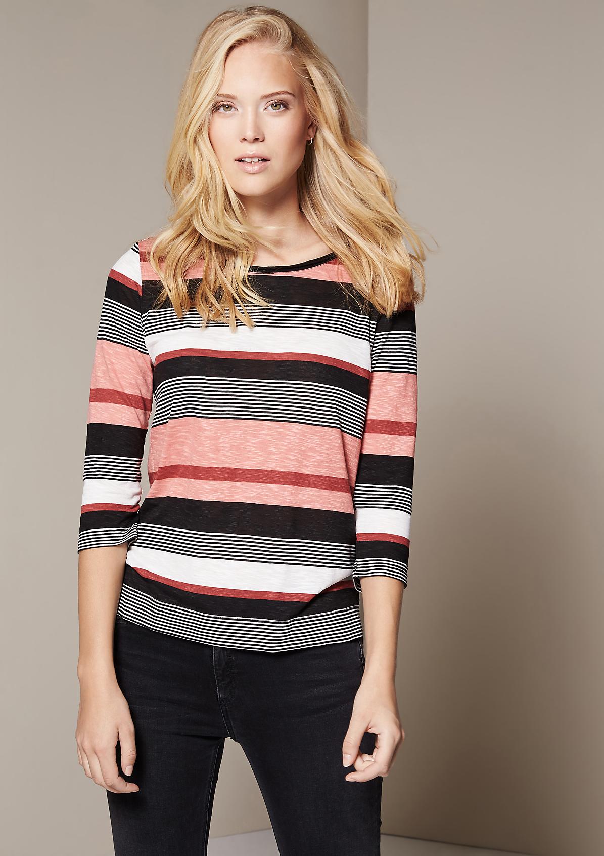 Leichtes 3/4-Arm Jerseyshirt im Streifenlook