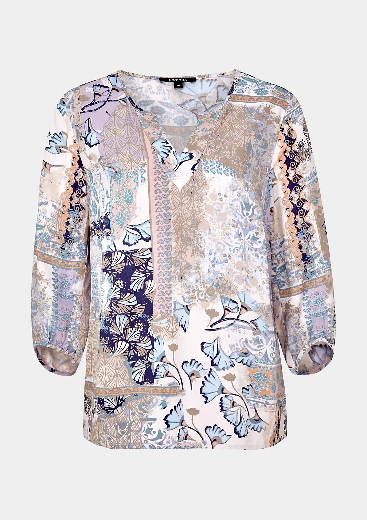 Schöne 3/4-Arm Bluse mit aufwendig gestaltetem Alloverprint