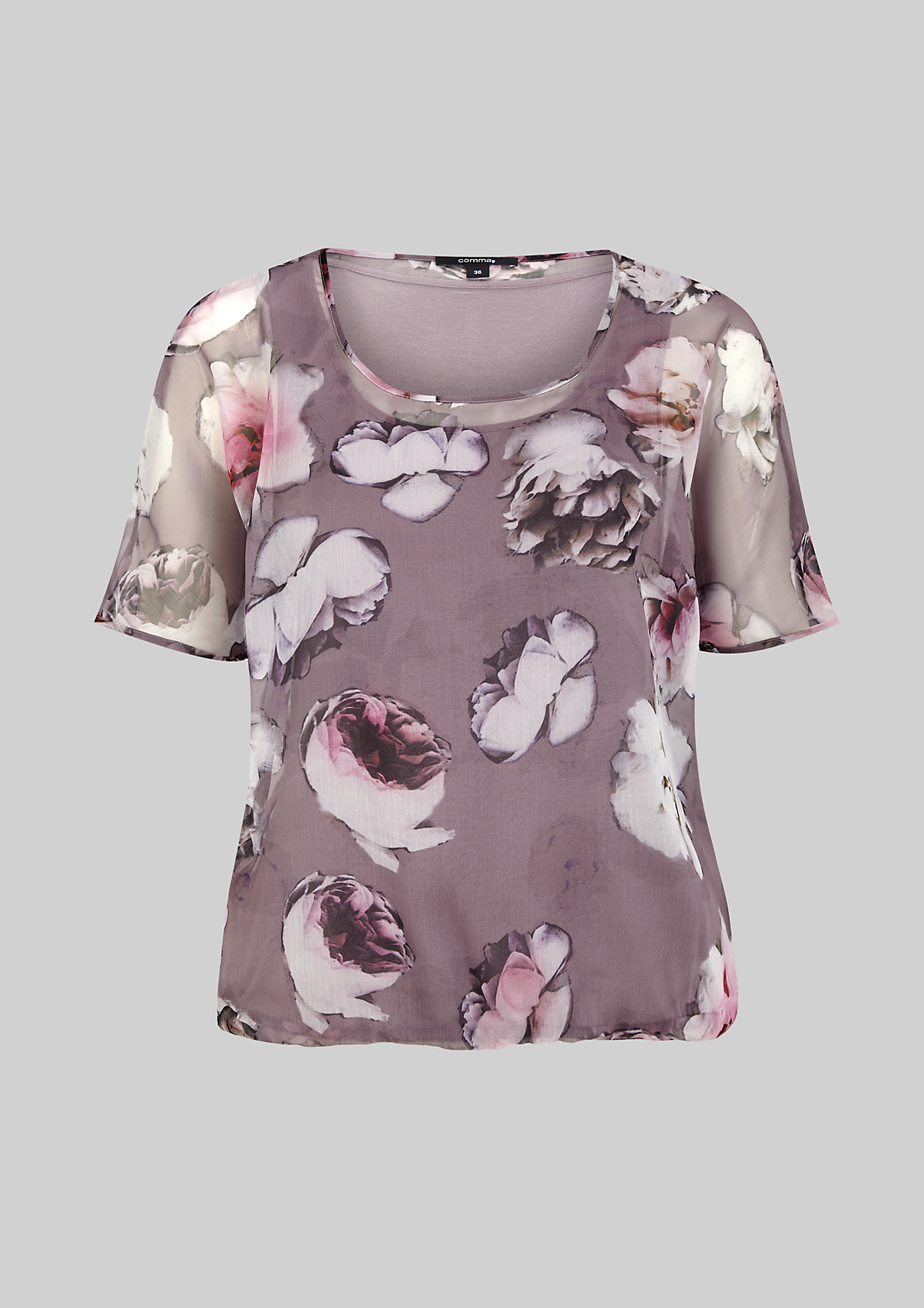 Semitransparente Chiffonbluse mit aufregendem Alloverprint