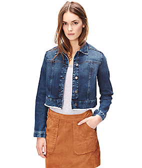 Denim jacket with a fringed hem F1168101 from liebeskind