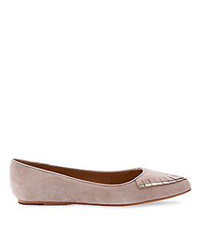 Pointed toe suede fringe flat LS0089 from liebeskind
