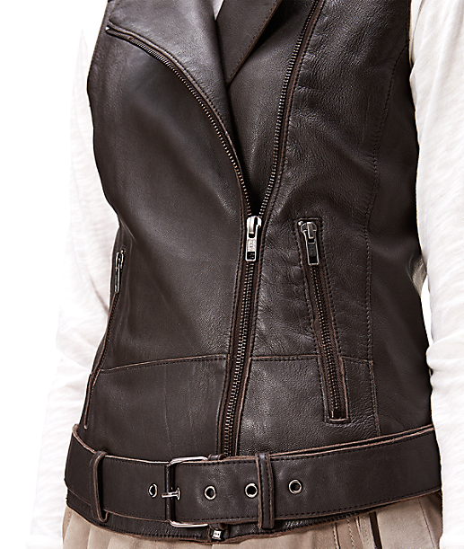Leather waistcoat with a belt F1167002 from liebeskind