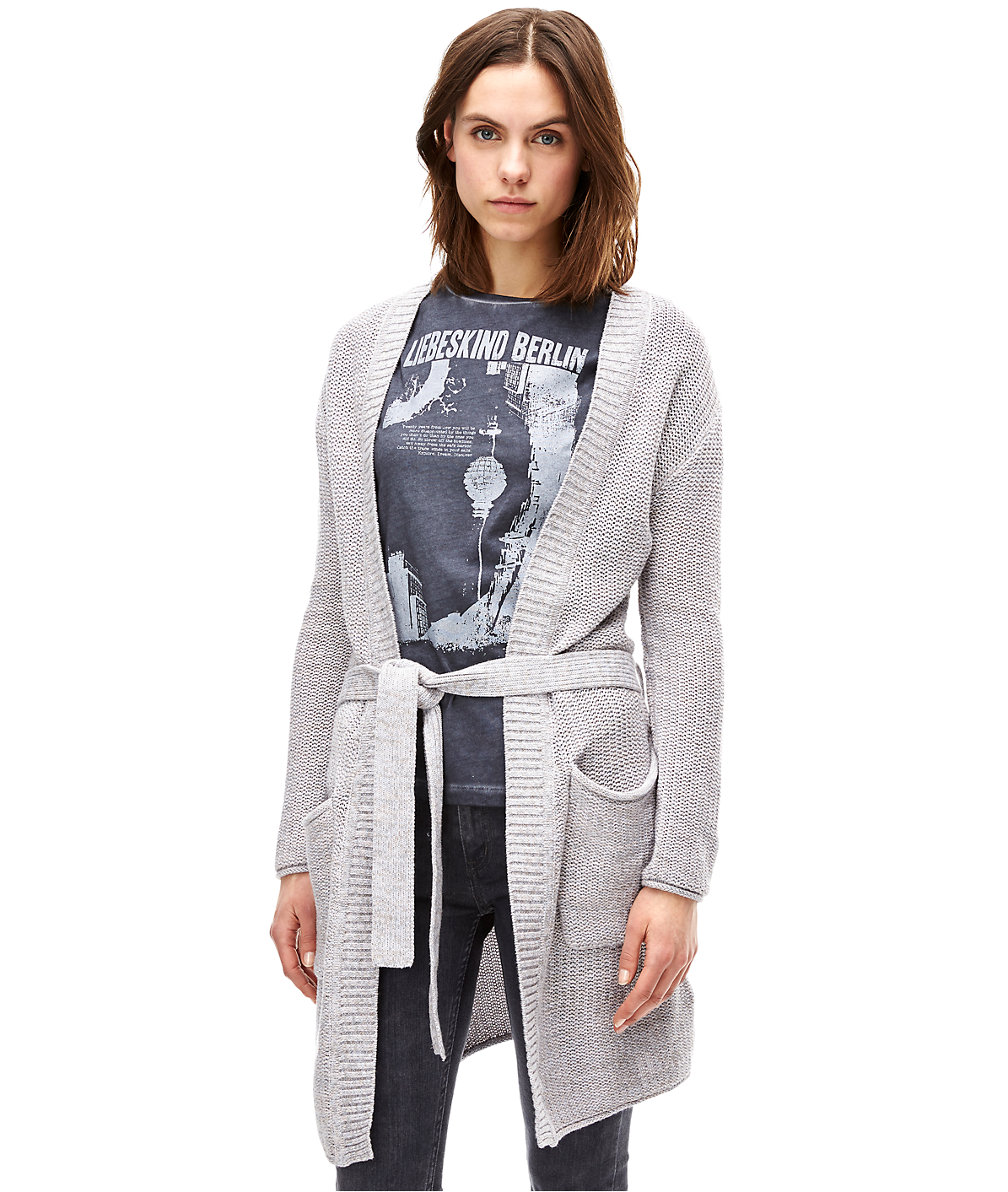 Cardigan in a mottled black & white look F1165002 from liebeskind