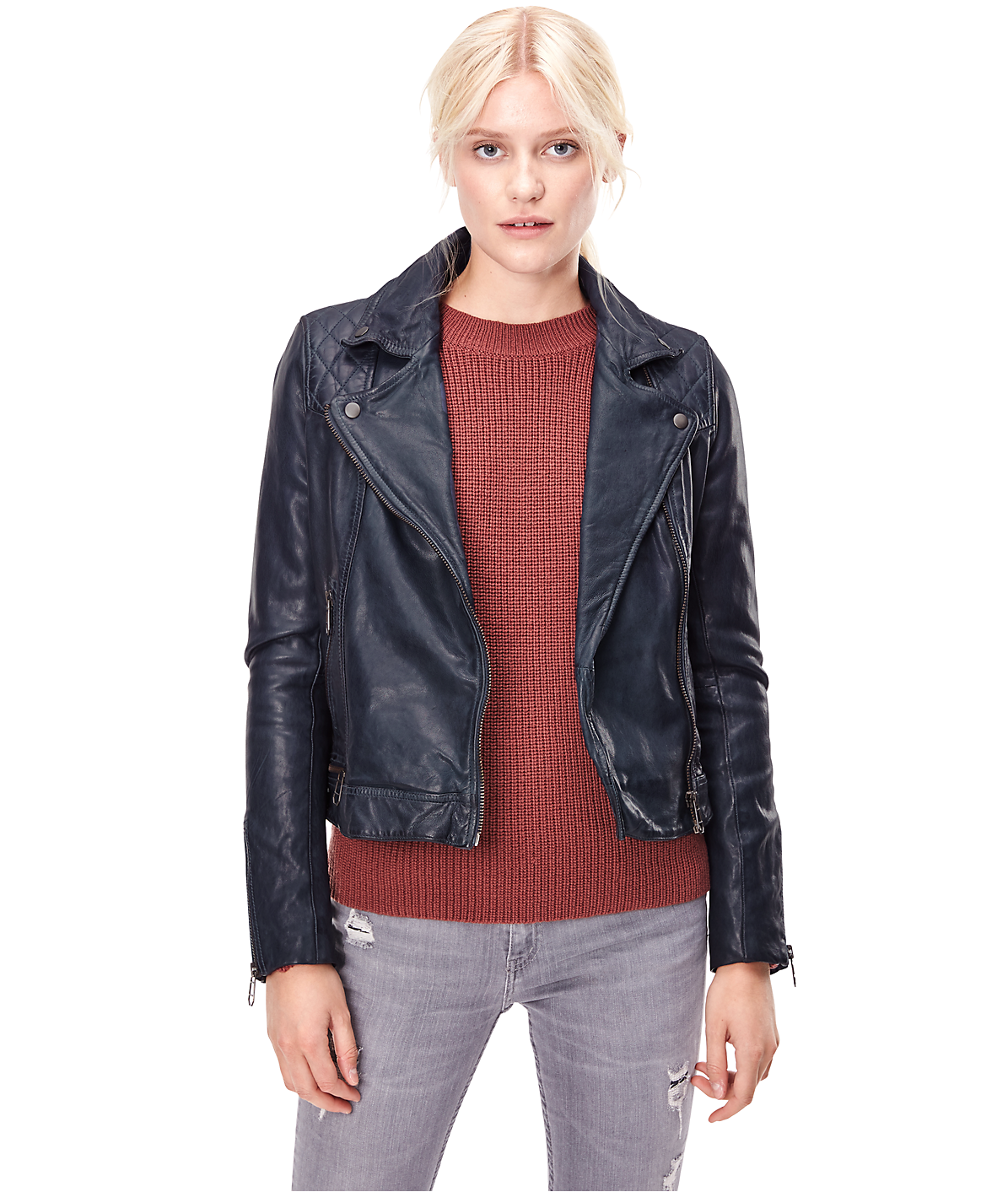 Cropped leather jacket H2167000 from liebeskind