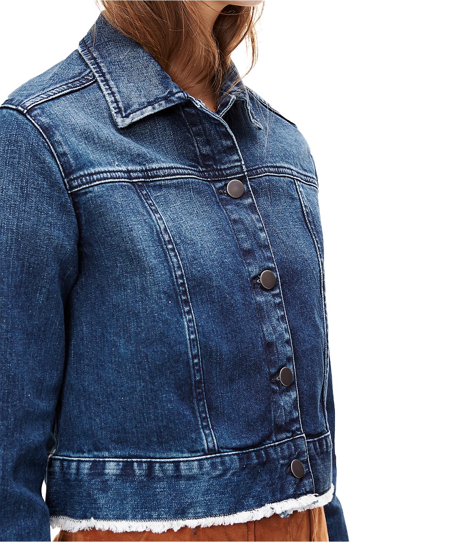 Denim jacket with a fringed hem F1168101 from liebeskind