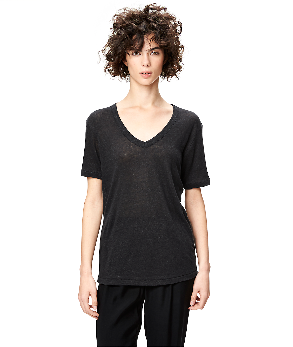 Linen V-neck T-shirt S1161001 from liebeskind