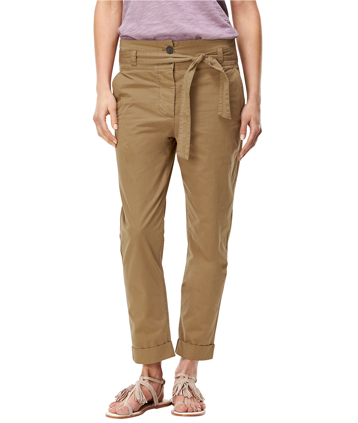 Twill trousers with a tie-around belt F2164100 from liebeskind