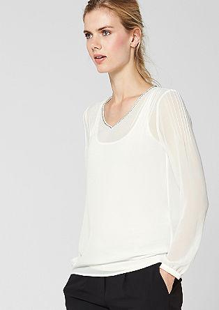 2-in-1 chiffon blouse met top
