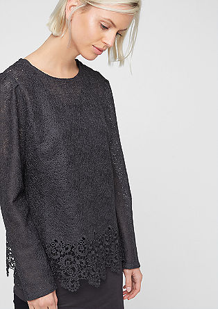 2-in-1 lace blouse with a top from s.Oliver