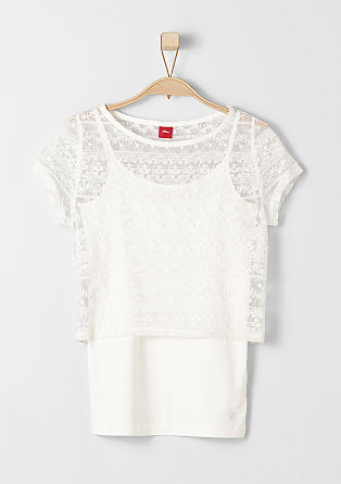 2-in-1 lace top with a vest from s.Oliver